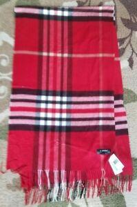 NWT V. Fraas Cashmink Red Plaid Tartan Blanket Wrap Shawl Scarf Retails $48