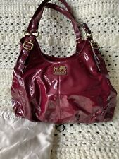 Coach Handbag Red Maroon Patent Leather With Dust Bag