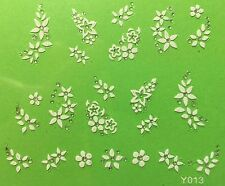 Nail Art 3D Decal Stickers White Flowers Y013