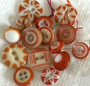 15 Vintage ORANGE China Buttons, Stencil, Bull's Eye, Ringers
