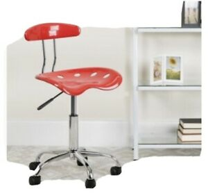 Vibrant Cherry Tomato and Chrome Swivel Task Office Chair with Tractor Seat New