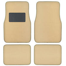 Solid Light Beige Premium Car Auto Thick Carpet Floor Mat w/ Heel Pad 4 Piece