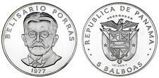 5 SILVER BALBOAS/5 BALBOAS PLATA. PANAMÁ. 1977. BELISARIO PORRAS. PROOF.