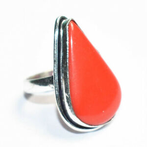 Red Coral Gemstone 925 Silver Jewelry Ring Size- 9
