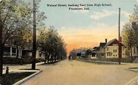 Frankfort Indiana~Walnut Street~Homes East From High School~1921 Postcard
