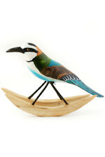 African handcrafted wood wooden blue tailed rocking bird hand carved painted