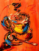 COFFEE CUP IMPRESSIONIST   Abstract Modern CANVAS Origina PAINTING