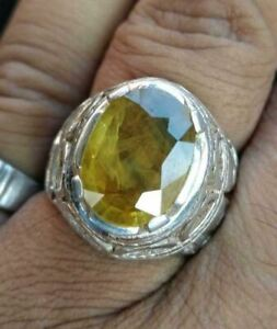 8 Ct Natural Yellow Sapphire Pukhraj Silver ring for Men and Women great Luster