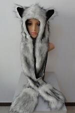 Cute Fuzzy Faux Fur Animal Wolf Cat Hat with Mitten Gloves Earmuff Plush Beanie