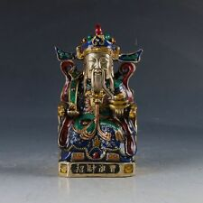 Chinese Cloisonne Handwork Carved God of Wealth Statue QianLong Mark