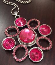 Pink Rhinestone Flower Pendant Snap Button for Noosa, Ginger Snaps, with 2 Snaps
