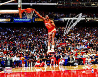 Dominique Wilkins Signed Atlanta Hawks One Hand Slam Dunk Action 8x10 Photo - SS