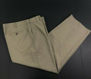 LL Bean Comfort Waist 36x28.5 100% Wool Dark Khaki Chino Trouser Pants 285312