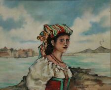 Rare huile sur toile peinture du Vésuve à Naples,signature à identifier