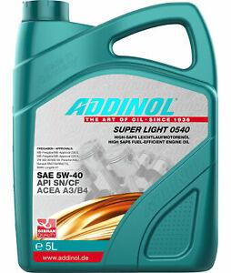 5 L  ADDINOL Super Light 0540 API SN/CF ACEA A3/B4 VW BMW Renault AUDI MB Porsch