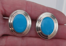 """X 3/4"""" Oval Pierced Earrings Estate Mexico Sterling Silver Turquoise 1"""""""