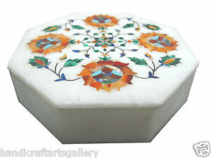 """6""""x6""""x2"""" Small White Marble Storage Box Top Carnelian Inlay Floral Dressing Deco"""