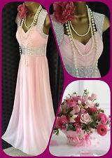 Quiz Pink Silver Prom bead evening gatsby dress  New 10 38