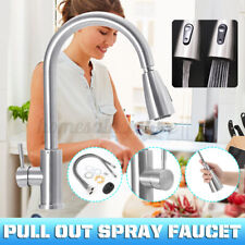 Kitchen Faucet Stainless Steel Sink Tap Single Handle Pull Out Sprayer Mixer Tap