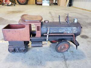 Antique Keystone Pressed Steel 6400 R.R. 6 Wheel Ride On Train Engine kids toy