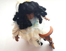"""Beautiful Victorian African American Girl Curly 16"""" Porcelain Doll Wood Tricycle"""