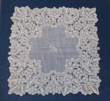 Beautiful Antique Lace Hankerchief - Brussels Duchesse Bobbin Lace - Dated 1889