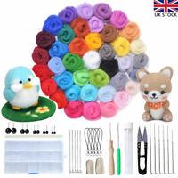 40 Colour Wool Felt Needles Tool Set Needle Felting Mat Starter Kit DIY Gift UK