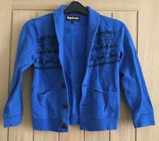 Boys Blue Cotton Winter Barbour Cardigan. Sz s (6/7yrs). Long Sleeved. Button up