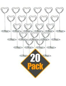 20 Silver Heart Wedding Party Event Name Number Card Holder Table Stand Clips