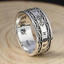 925 Sterling Silver Jewelry Lucky Vajra for Men and Women Heart Sutra ring S1911