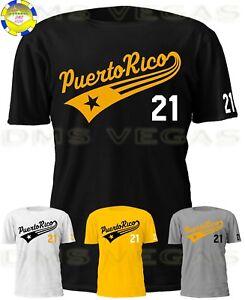 Pittsburgh Roberto Clemente Puerto Rico Tail Jersey Tee Shirt Men S-5XL