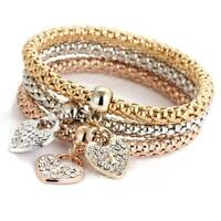 3Pcs Rhinestone Heart Charm Bracelet Set Gold Silver Rose Gold Bangle Jewelry