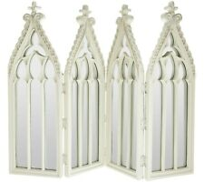 Antiqued IVORY Cathedral 4-Panel Mirror by Valerie Parr Hill QVC H208727 decor