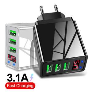 3 Port Fast Quick Charge QC 3.0 USB Hub LED Display Wall Charger Adapter EU Plug