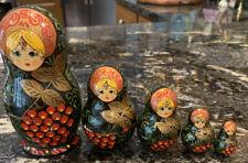 "Vintage Handpainted Nesting Dolls Matroyshka Signed 6"" H"