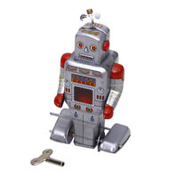 Wind Up Walking Robot Tin Toy clockwork mechanical Gift Vintage Collectibles
