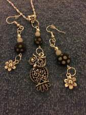 sterling silver chain silver owl charm pendant/flower beads earrings