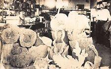 Real Photo Postcard Ocean Sea Sponges at Store in Tarpon Springs, Florida~110648