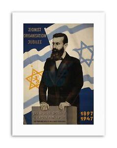ZIONISM THEODOR HERZL STAR DAVID FLAG PALESTINE Canvas art Prints