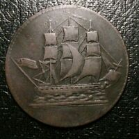 1829 Canadian Coins token BRETON 997 SHIPS COLONIES COMMERCE US FLAG