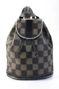 Fendi Womens Vintage Leather Trim Backpack Brown