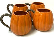 Pottery Barn Pumpkin Shaped Figural Mug - Set Of 4 (NEW)