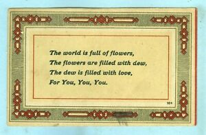 """2nd of 2 Vintage, """"The world is full of flowers, The flowers are filled with dew"""