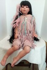 Native American Porcelain Doll Female  Sitting Pink Suede