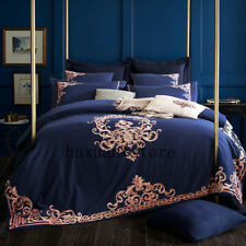 Embroidered Luxury Royal Bedding Set 60S Egyptian Cotton Silky 6pcs Duvet Cover