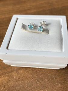 Ratanakiri Blue Zircon 925 Sterling Silver Stud Earrings