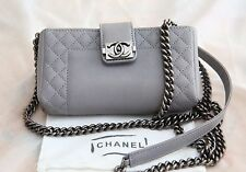 VERIFIED Authentic New RARE Chanel Grey Leather Boy Reverso Mini Pochette Bag