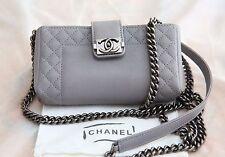 VERIFIED Authentic New RARE Chanel Grey Leather Boy Reverso Mini Pochette Bag