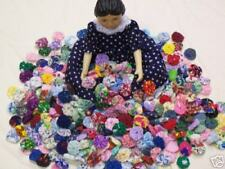 "Yo Yo Quilt Fabric Flower HITTY Doll Miniature 5/8"" Hairclip Bobby Pin Applique"