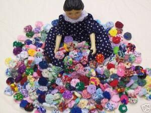 "Yo Yo Quilt Fabric Flower HITTY Doll Miniature 5/8"" Hairclip Bobby Pin Applique"